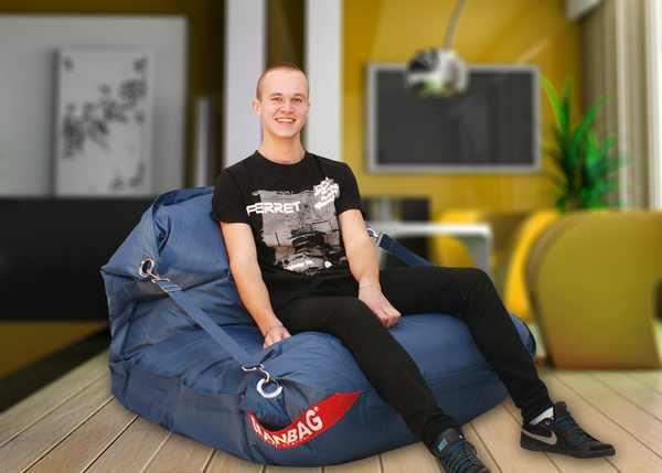 Beanbag sitzsack comfort inkl gurten gr 189 x 140 cm for Ohrensessel jeans