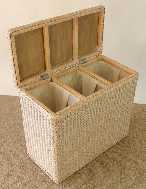 rattan w schesortierer 3 f cher toast white rattan xxl. Black Bedroom Furniture Sets. Home Design Ideas