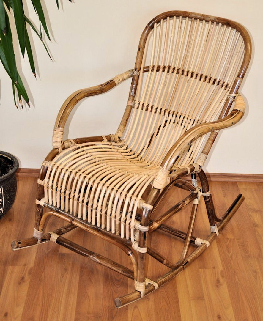 Rattan Schaukelstuhl Rocking Chair , Fb. natur