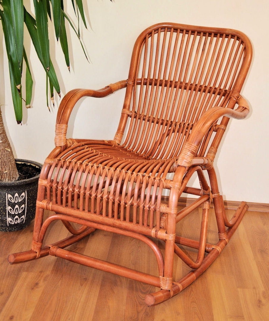 Rattan Schaukelstuhl Rocking Chair , Fb. cognac