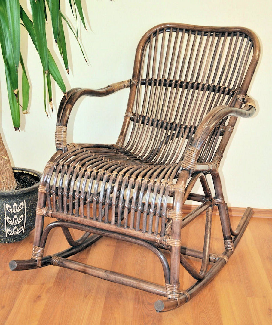 Rattan Schaukelstuhl Rocking Chair , Fb. darkbrown